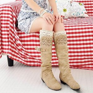 🔥Host Pick🔥Faux Leather Knee Boot Laser cut outs